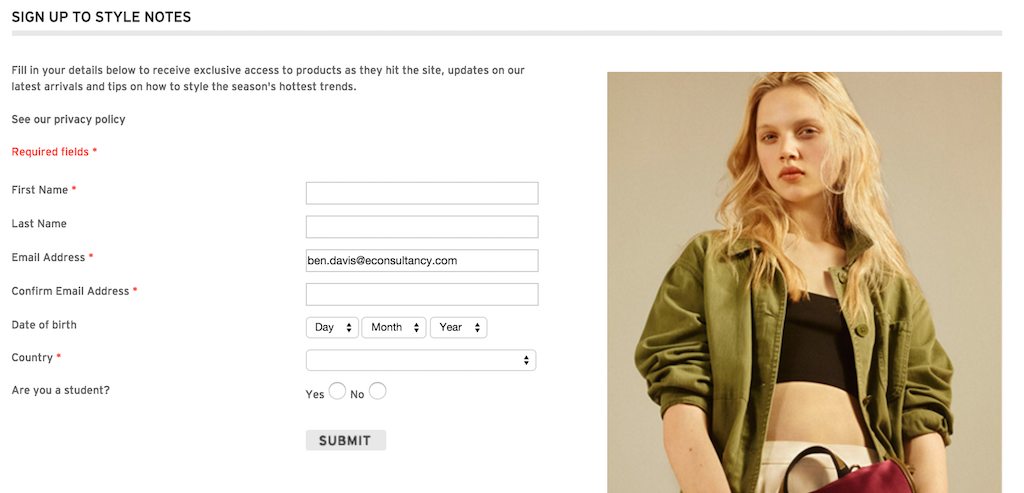 topshop newsletter signup