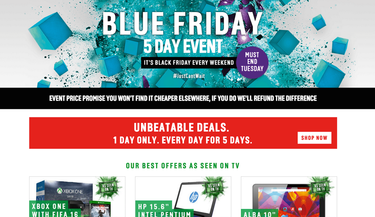 argos blue friday page