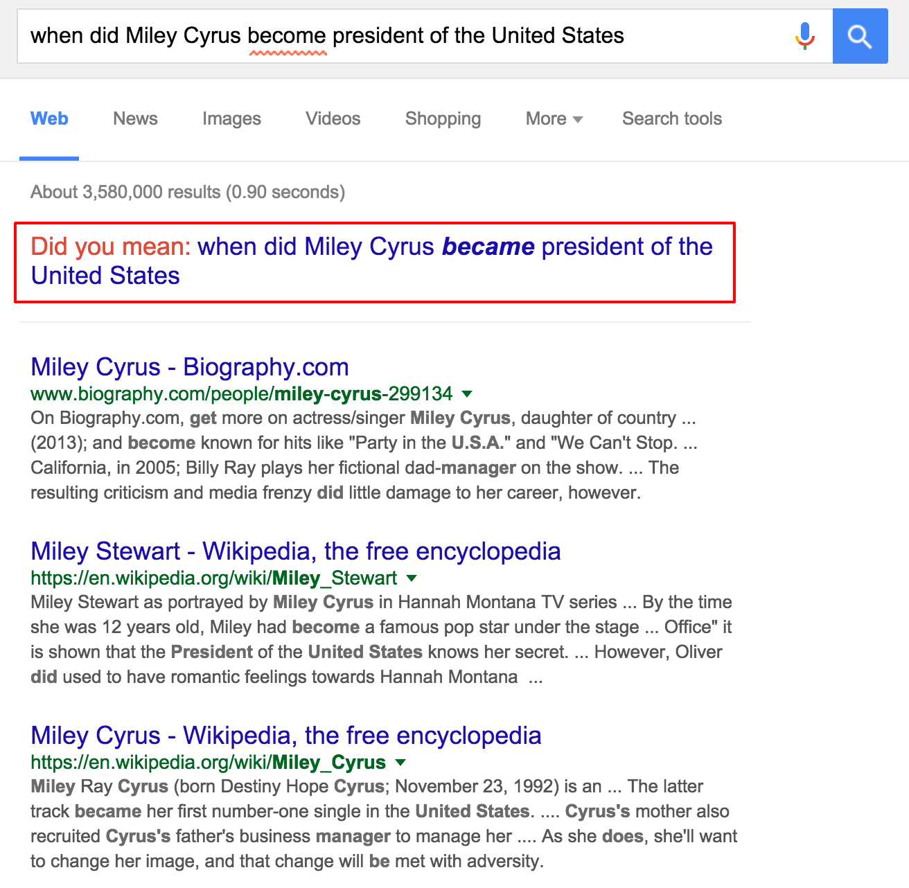 google voice search - when did miley cyrus become president