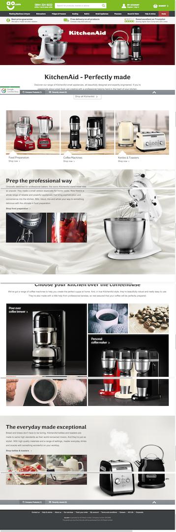 ao.com kitchenaid landing page
