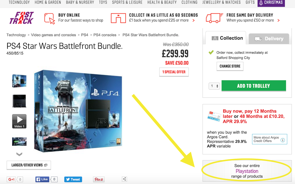 argos product page with category button