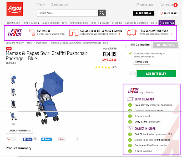 argos delivery information on product pages
