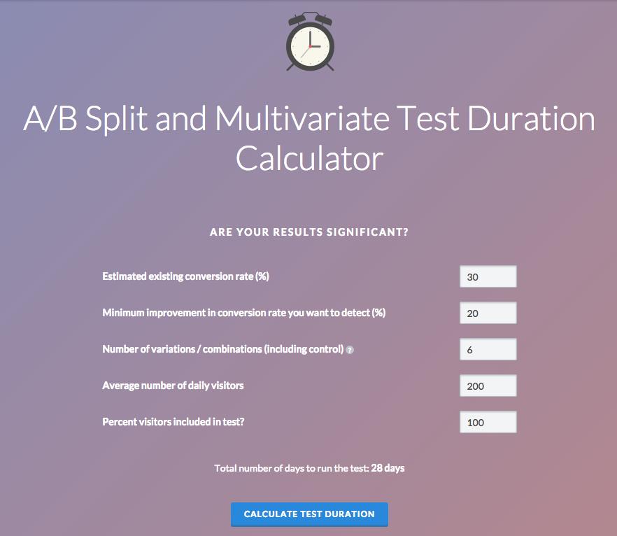 VMO a/b testing duration calculator
