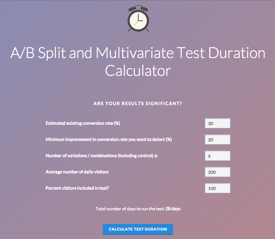 VMO a/b testing duration calculator