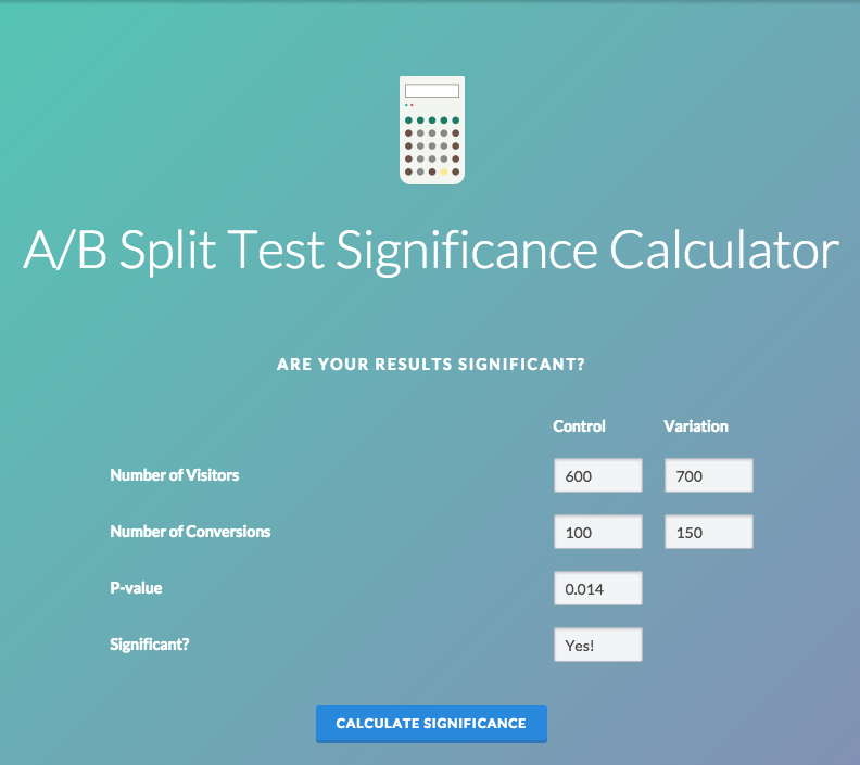 VMO a/b split test significance calculator