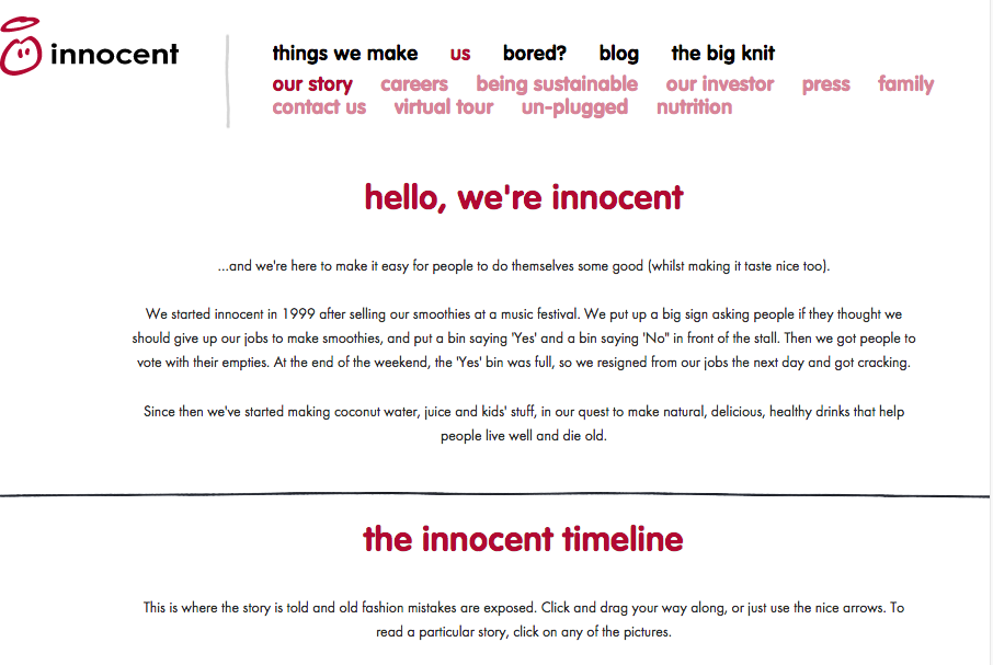 innocent drinks website copy tone of voice