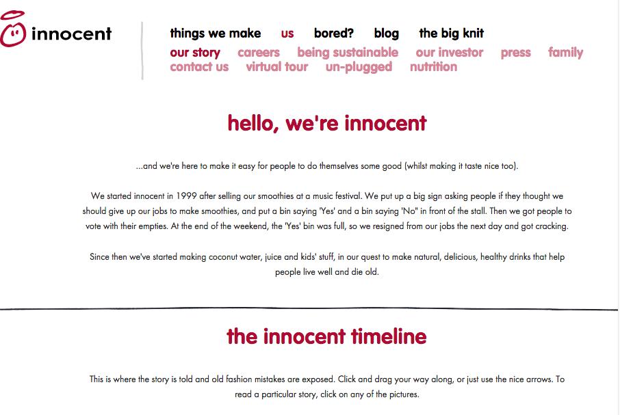 innocent drinks website copy tone of voice