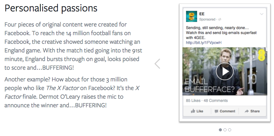 Facebook ads personalisation EE