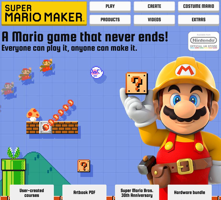 Nintendo super mario maker user generated content