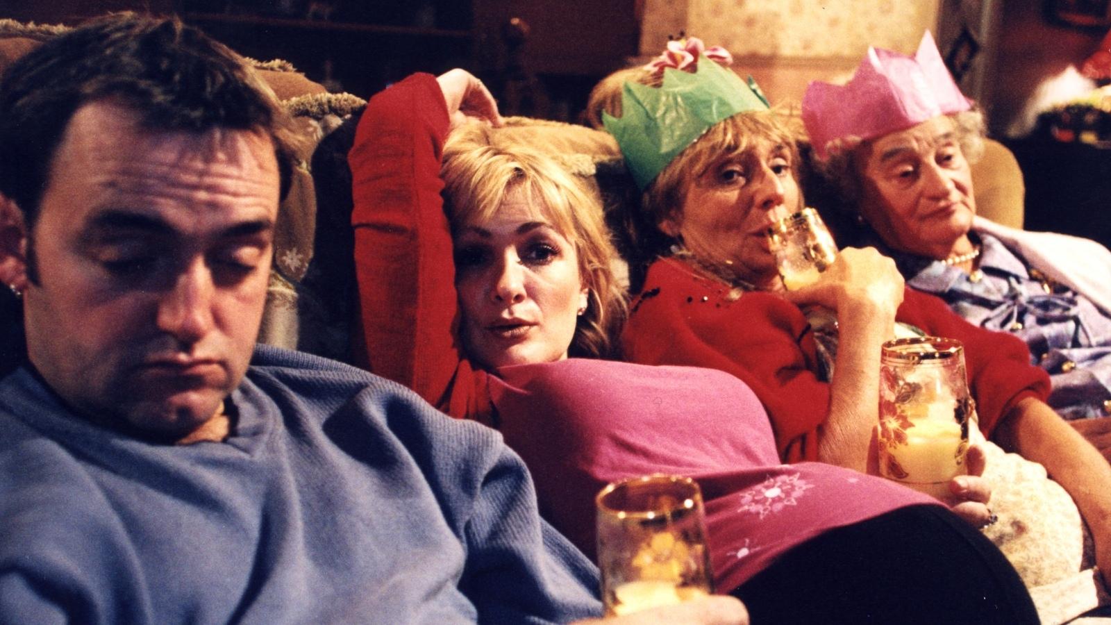 Royle family on sofa at Christmas