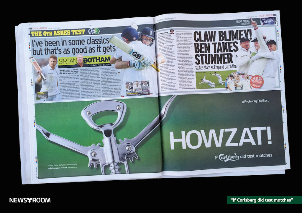 carlsberg press coverage during the ashes