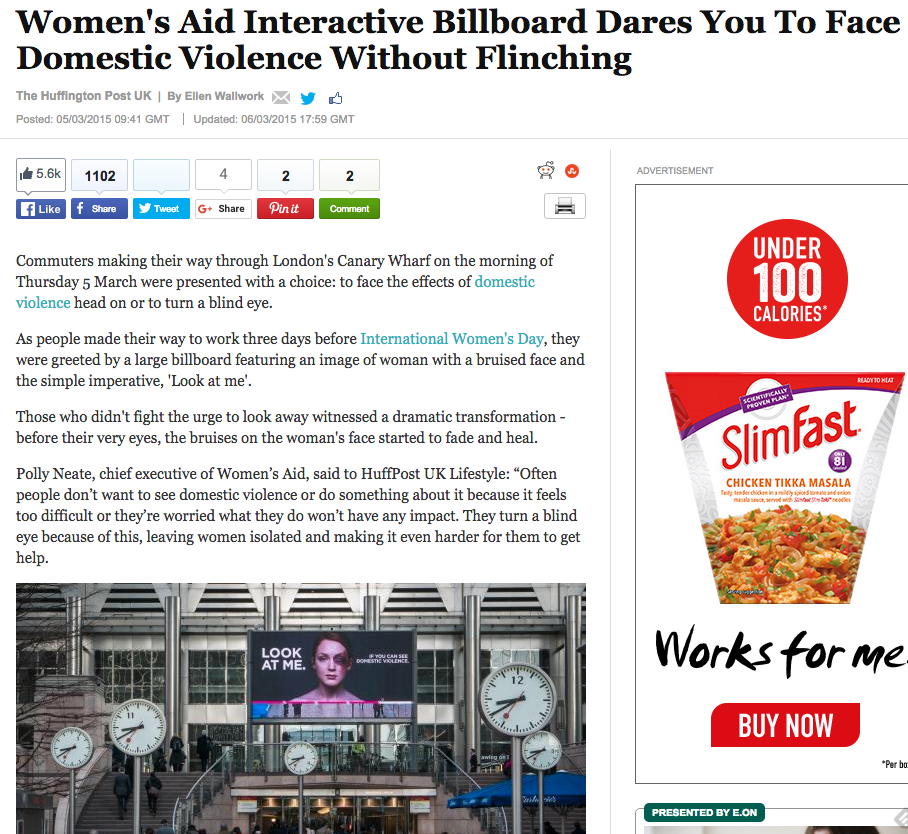 Women's Aid interactive billboard pr media coverage