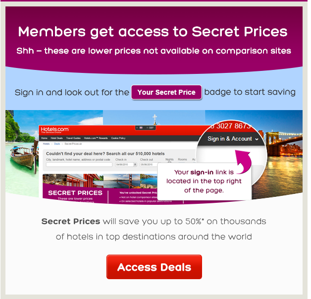 hotels.com members secret prices