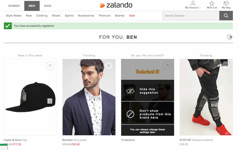 zalandro recommendations feed