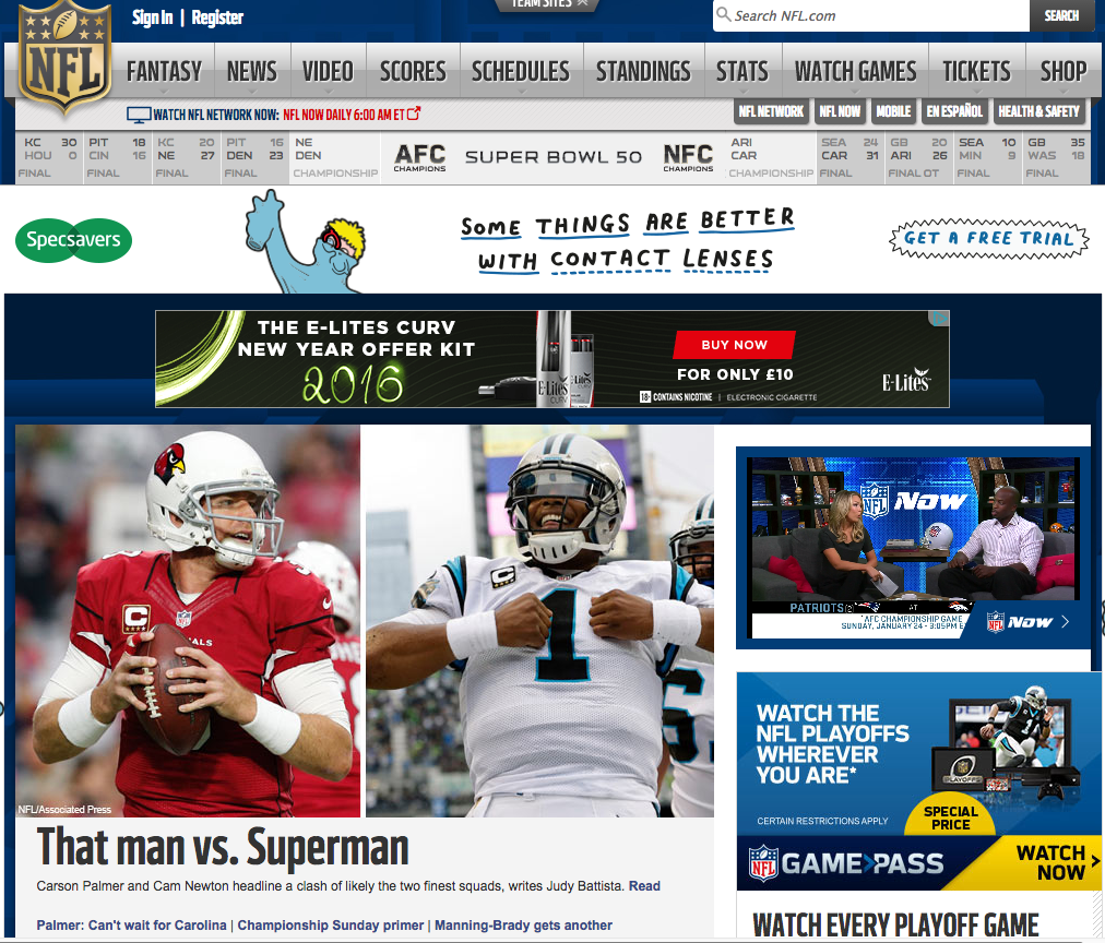 NFL home page