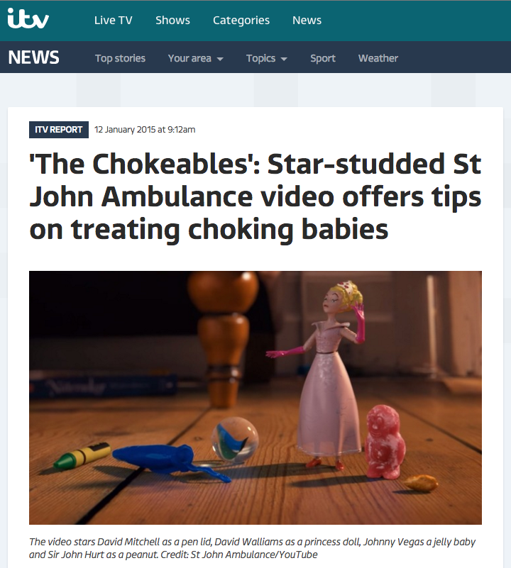 st john's ambulance the chokeables pr coverage