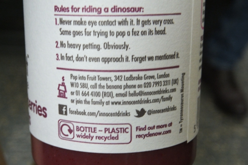 Innocent drinks copy on packaging
