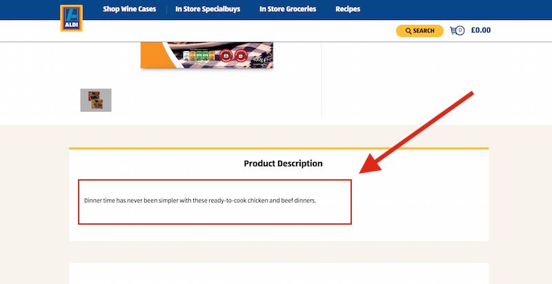 product description aldi