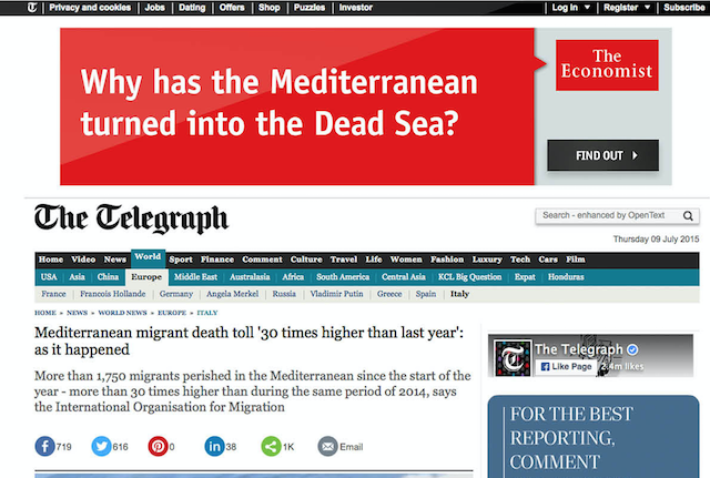 telegraph ad for the economist
