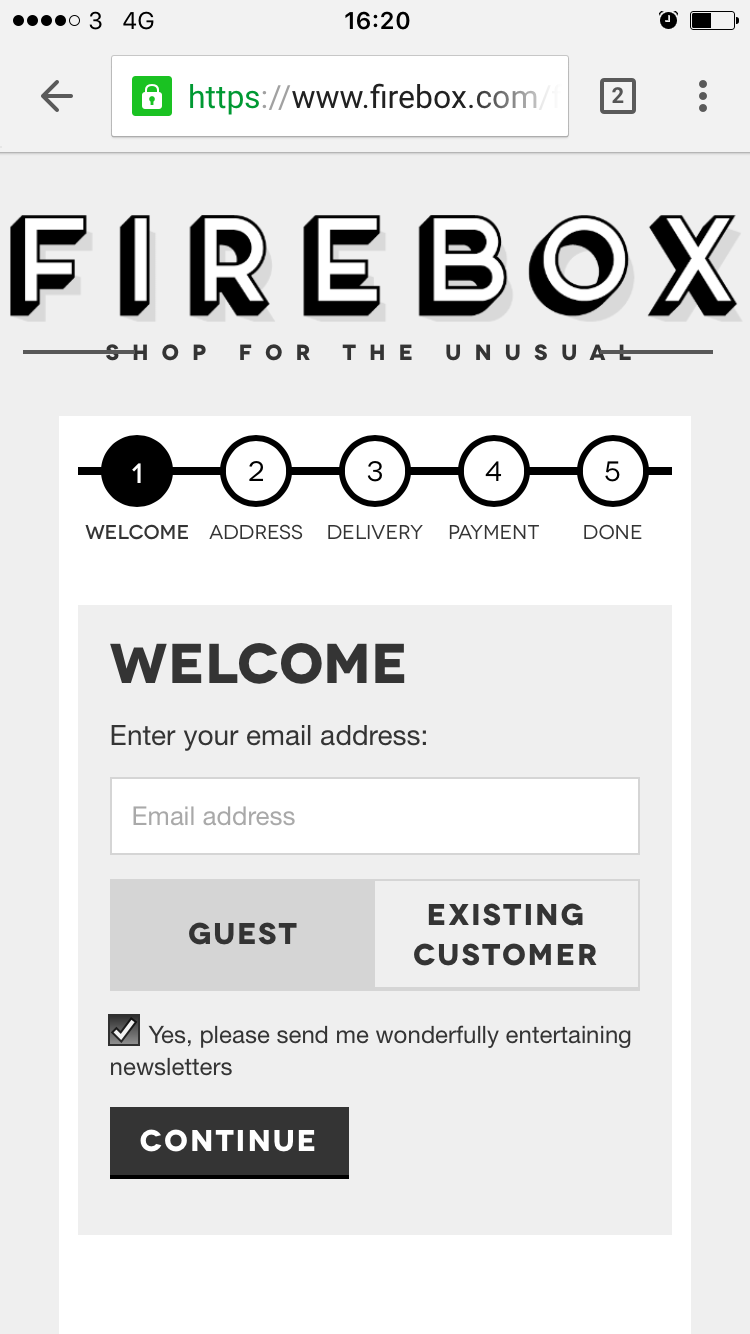 Firebox checkout progress indicator mobile
