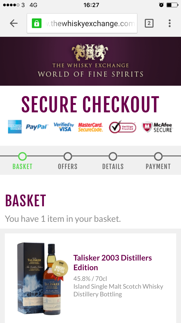 Whisky Exchange checkout progress indicator mobile