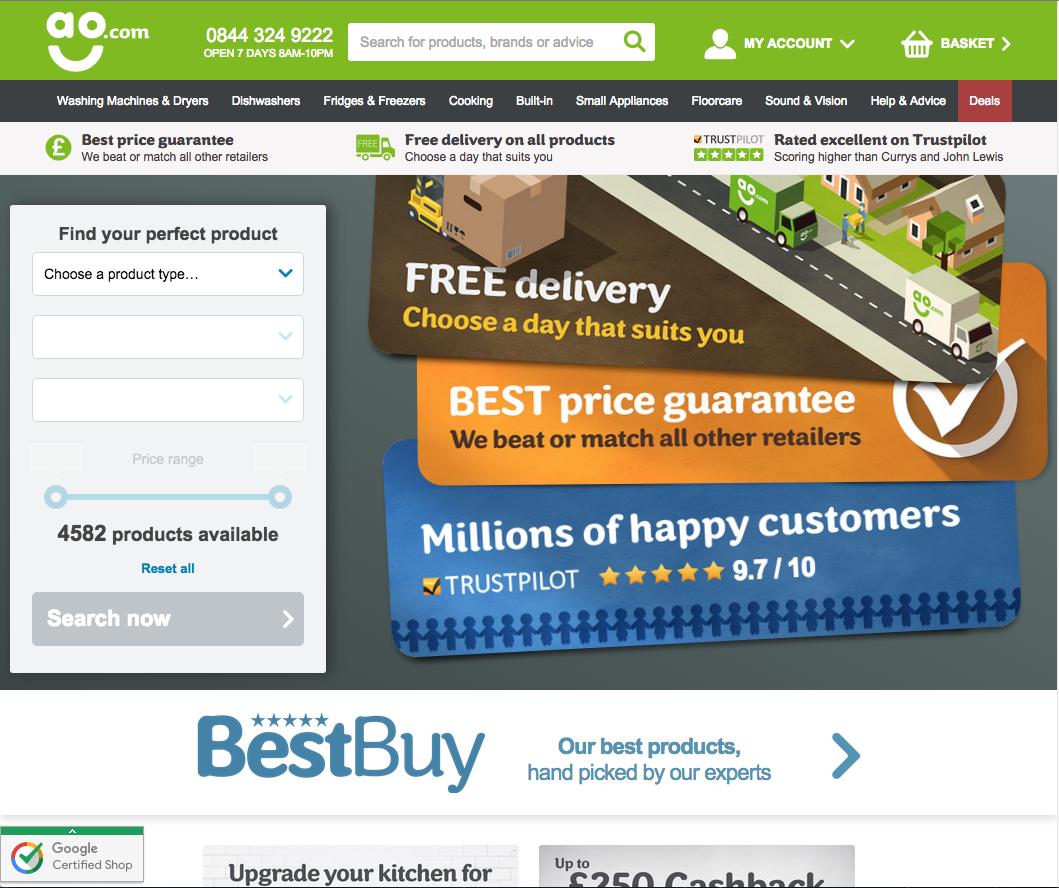 Ao.com home page