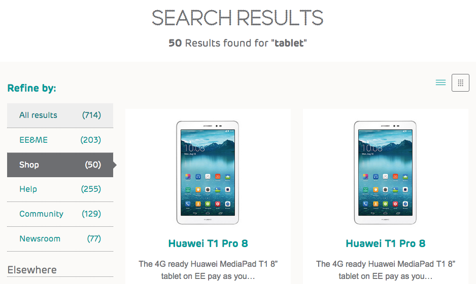 EE search results