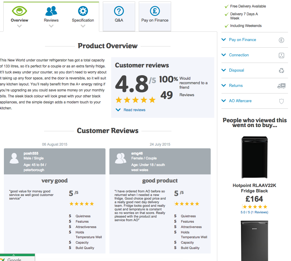 ao.com product page