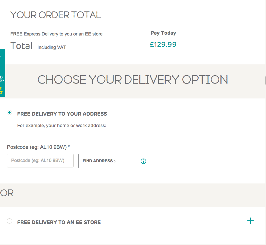 ee checkout page