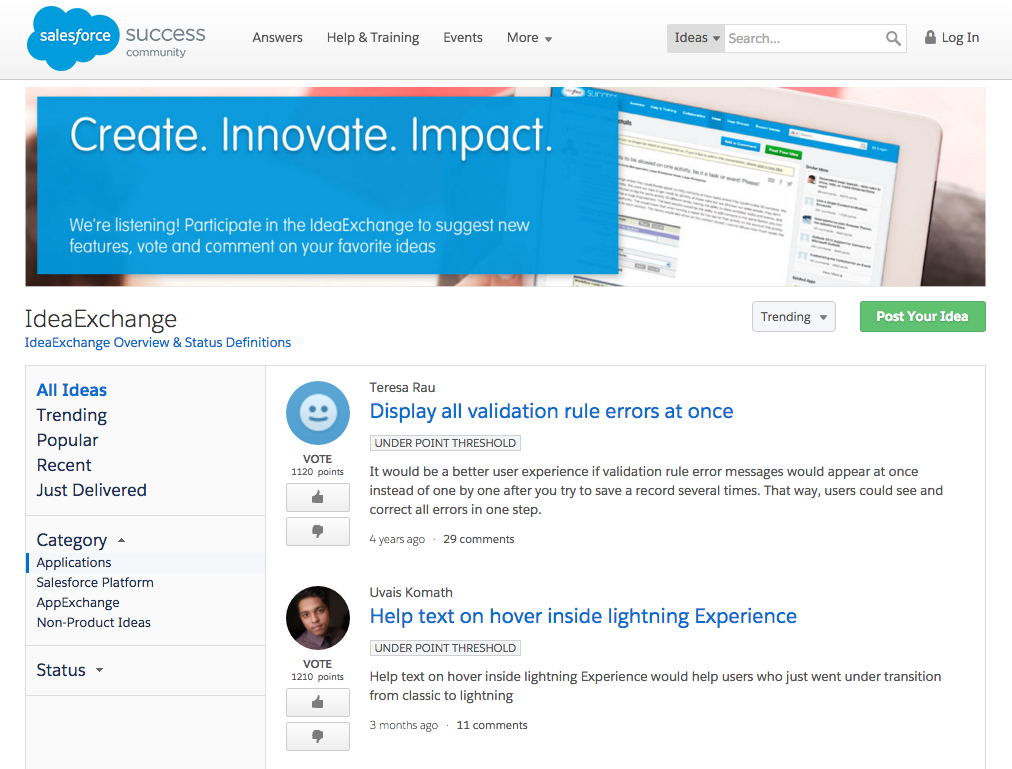 ideaexchange salesforce