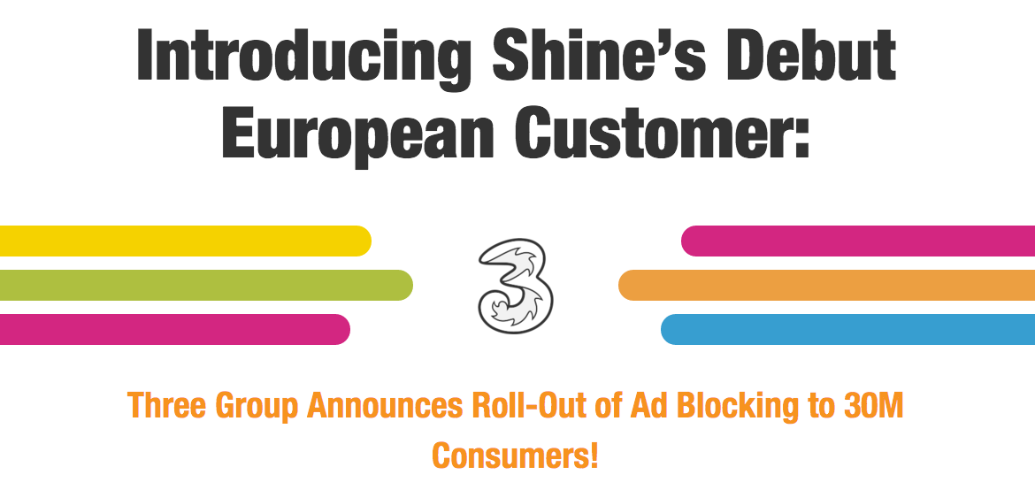 Three mobile ad blocking deal with Shine Technologies
