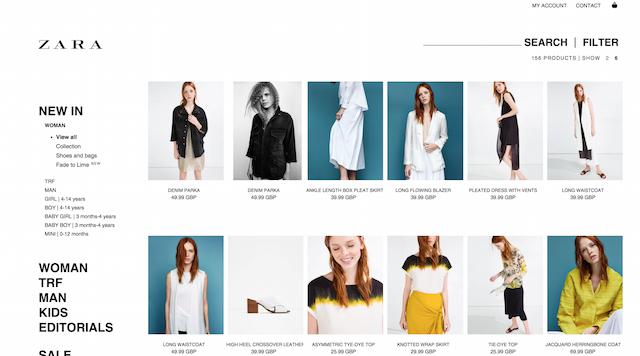 zara product listings