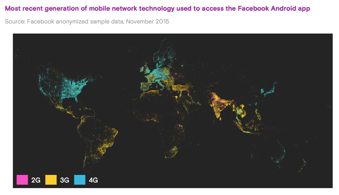map of network tech used to access facebook on android