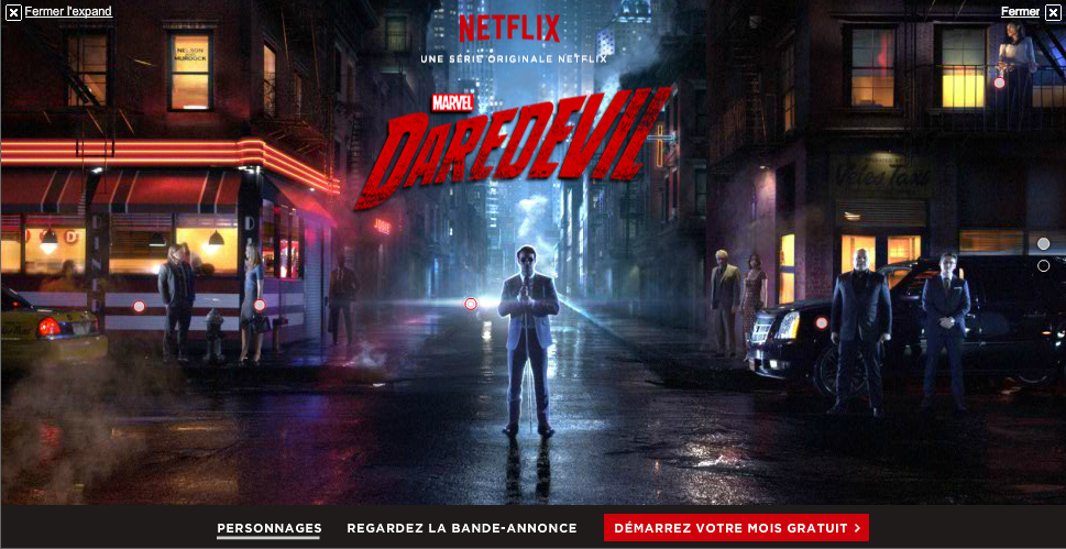 Daredevil interactive video ad on Netflix