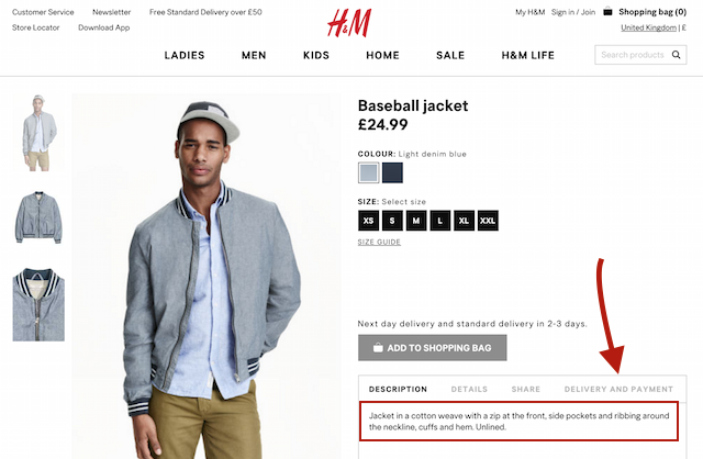 h&m product page