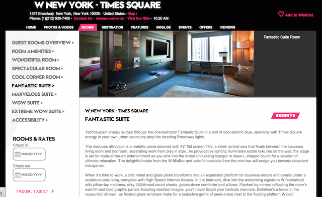 w hotels product description