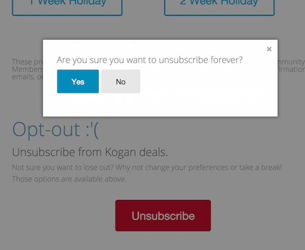unsubscribe kogan