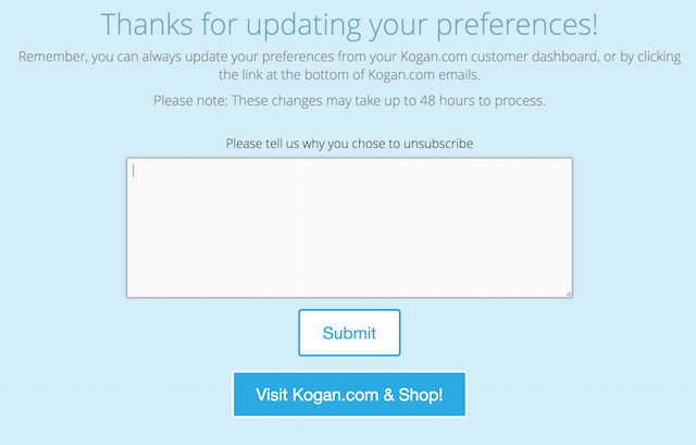 kogan unsubscribe