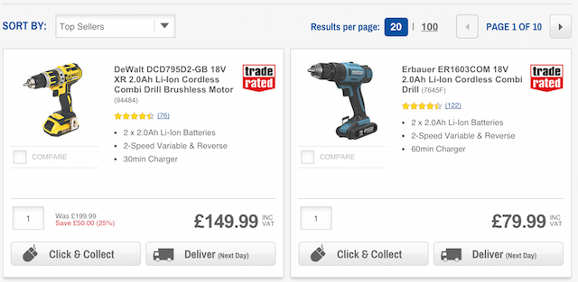 screwfix product listings