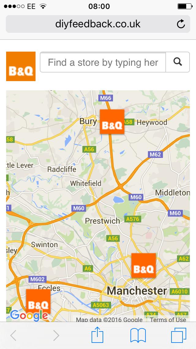 map b&Q feedback