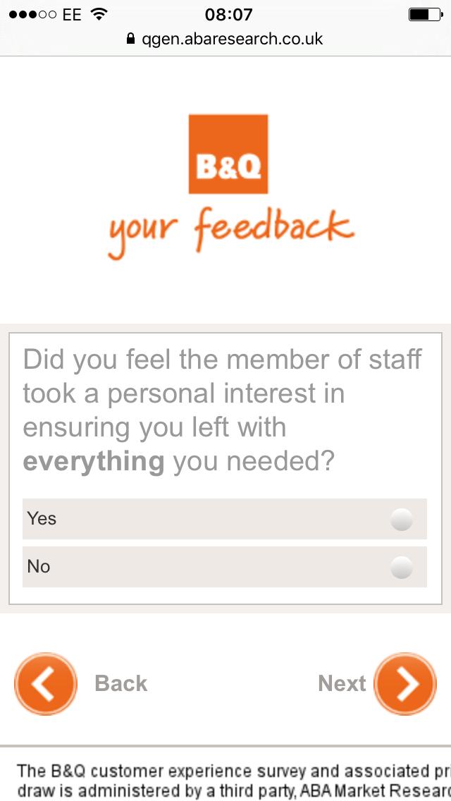 b&q feedback