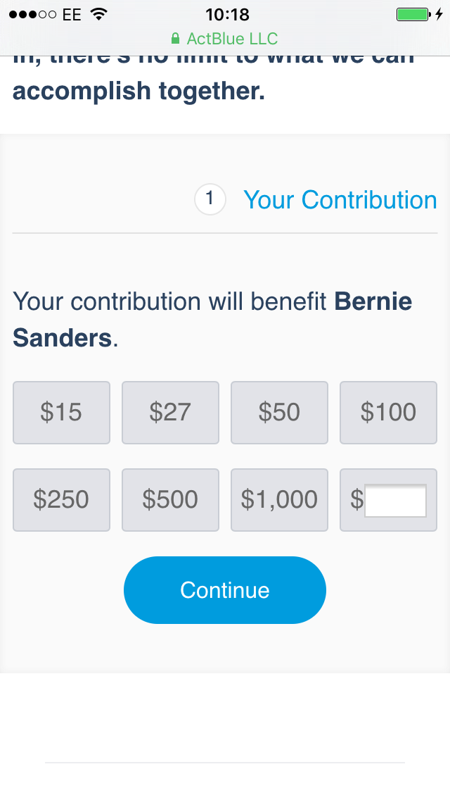 bernie donation