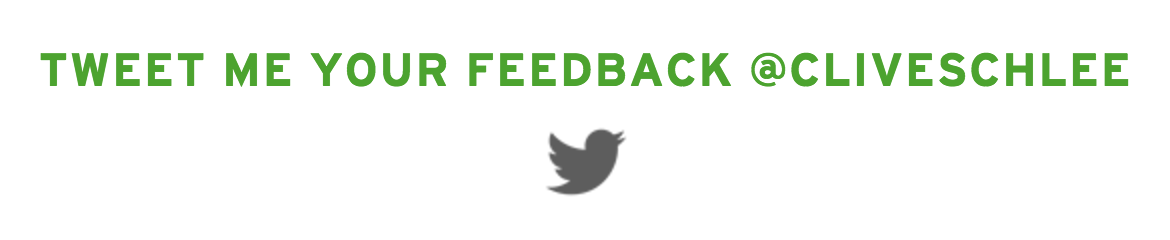 tweet feedback to clive schlee