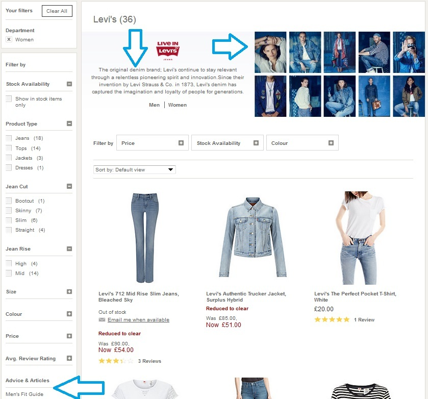 John Lewis Levi's category page