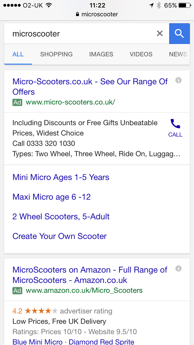 Search results on mobile