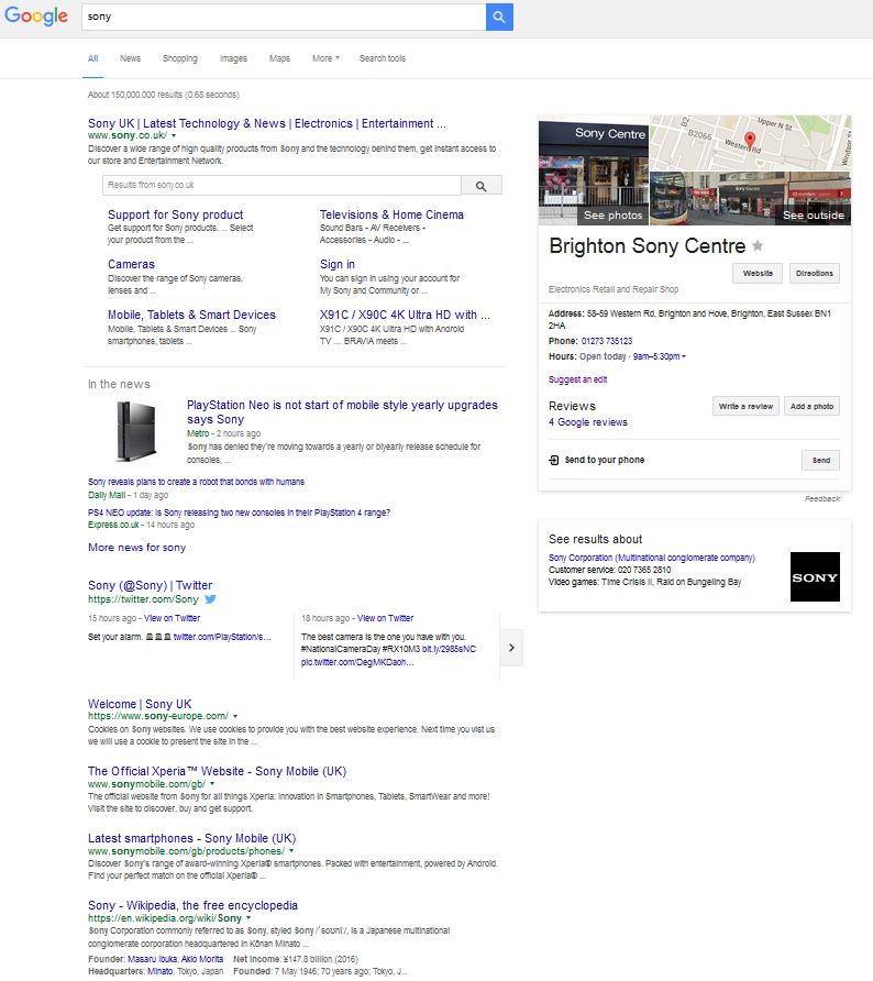 Sony Google search result