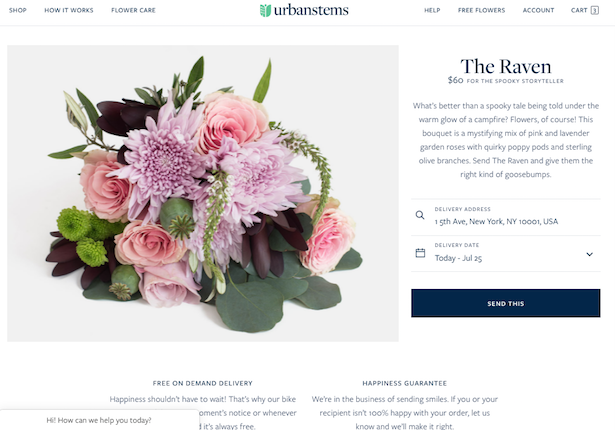 urbanstems product page