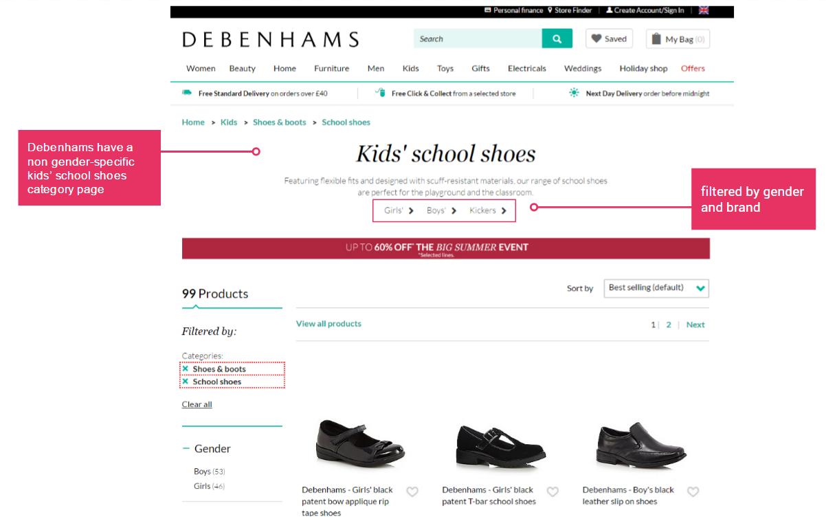 debenhams school shoes page