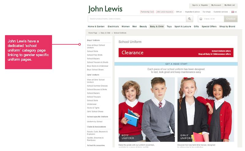 john lewis school uniform page