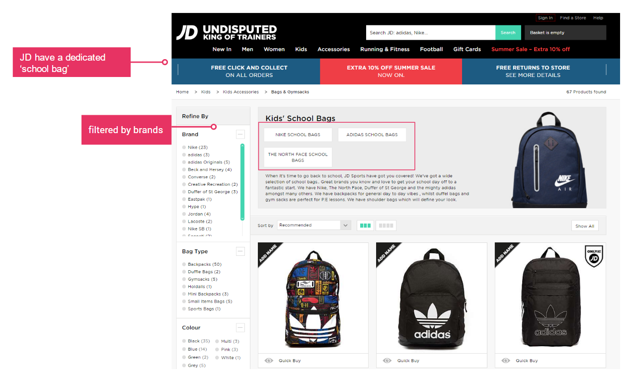 jd sports - bags page